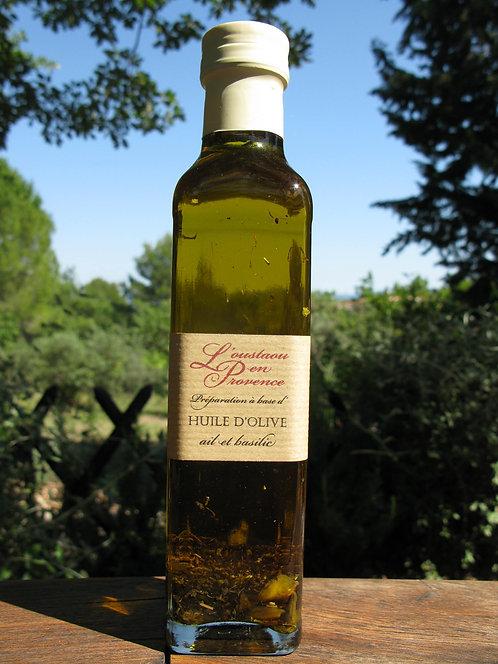 Huile d'olive à l'ail et au basilic 250ml
