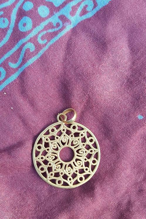 Flower mandala - Gold Indian pendant