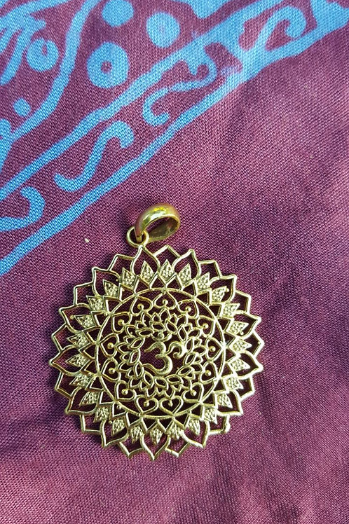 OM mandala - Gold Indian pendant