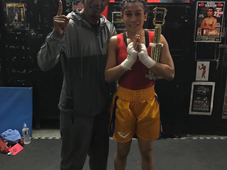 Class One fighter Gabriella Gulfin wins her boxing fight by 3rd round TKO.
