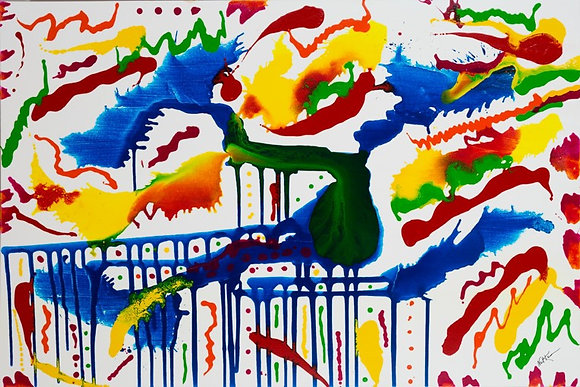 A Day at the Zoo - Abstract on White 48 x 72 in