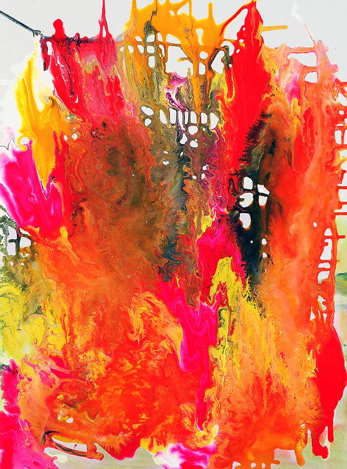 Phoebe's Fire - Abtstract on White 30 x 40 in