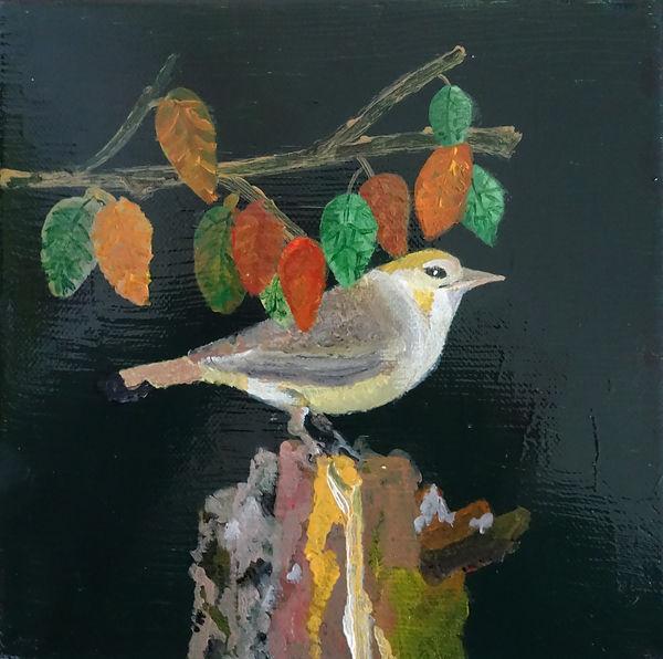 oiseau en automne tableau II 20 x 20 acr