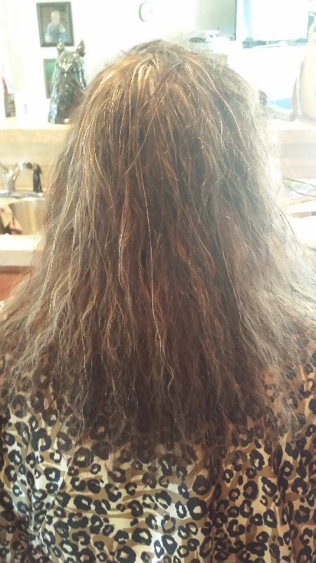 before Keratin smoothing treatment