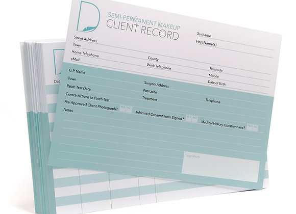 Eyebrow Microblading Client Record Cards - Pack of 50