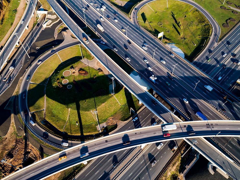 Interchange over busy highway