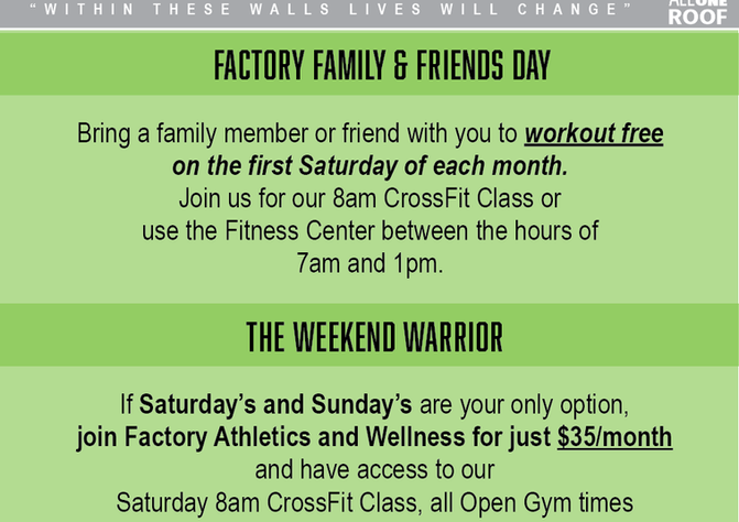 Friends & Family / Weekend Warrior