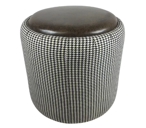 Lily Jack Leather Ottoman With Houndstooth Upholstery