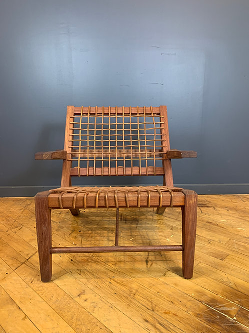 Teak and Woven Leather Lounge Chair