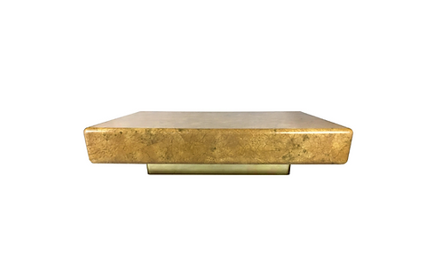 Monumental Parchment Clad Cocktail Table with Brass Base