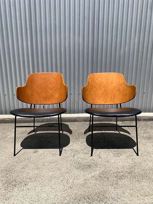 Vintage Danish Penguin Chairs by Ib Kofod Larsen, a Pair