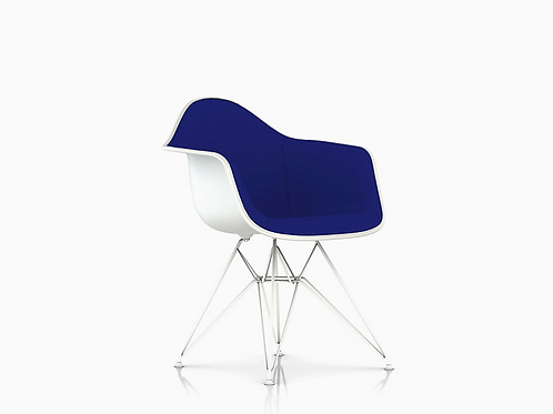 Nave Blue Tweed and White Eames Plastic Armshell Chair for Herman Miller