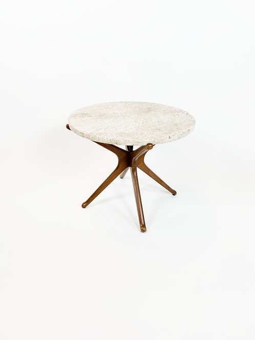Walnut and Travertine Side Table