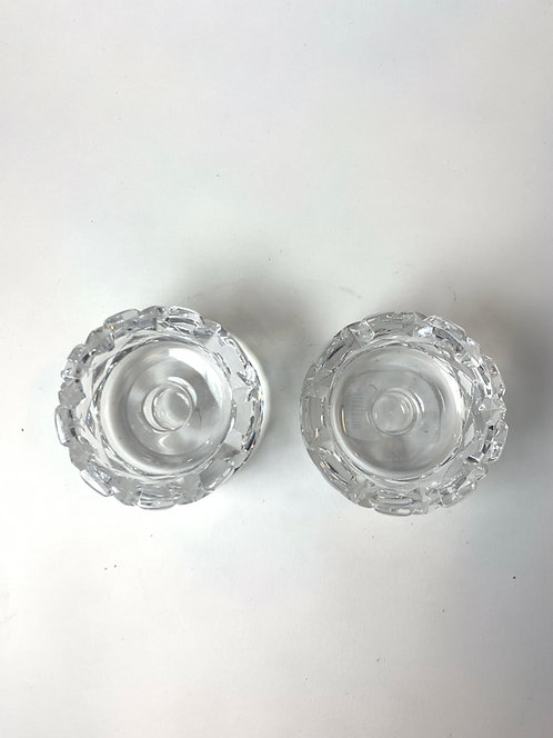 "Swedish Orrefors 4"" Lead Glass Candle Holders ca 1970's"
