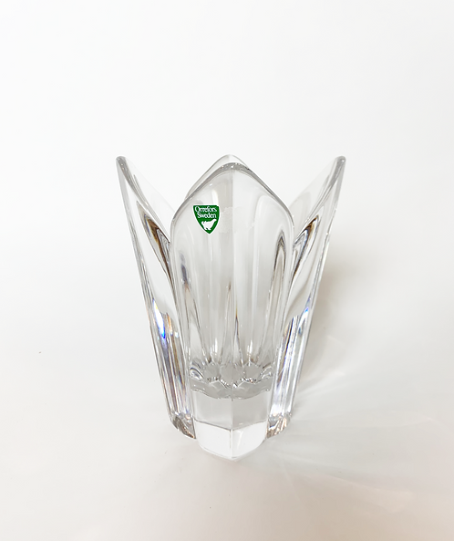 "Swedish Orrefors 7"" Leaf Form Lead Glass Vase ca 1970's"