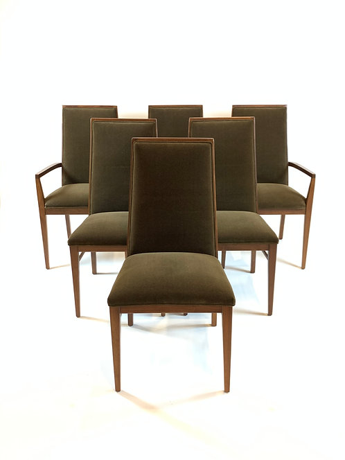 Milo Baughman for Dillingham Walnut Mid Century Dining Chairs, 6