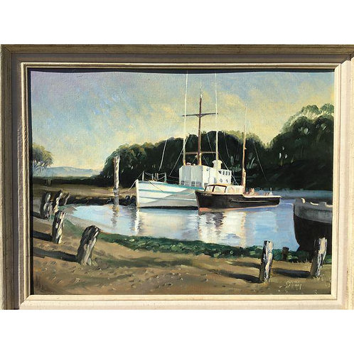 """Boats in Harbor"" Oil Painting"