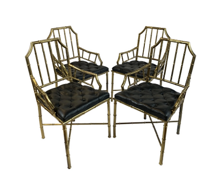 Faux Bamboo Chippendale Dining Chairs- Set of 4