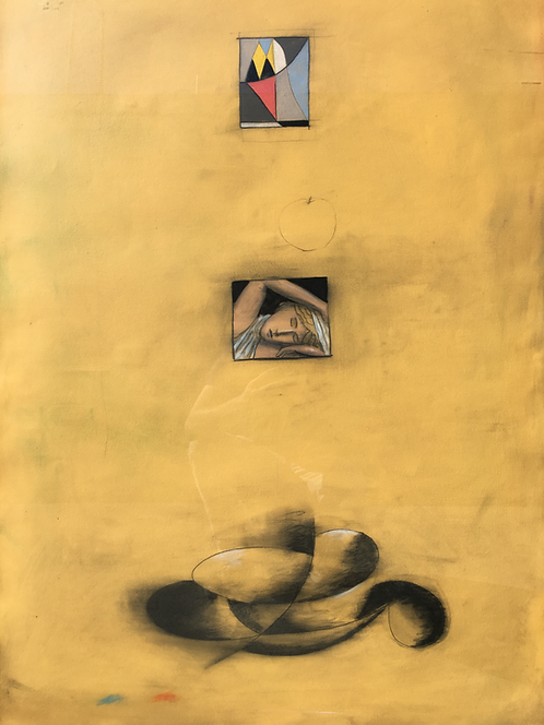 1990s Abstract Curtis Ripley Painting on Paper