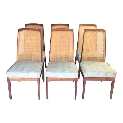 Brown Saltman Walnut and Cane Dining Chairs