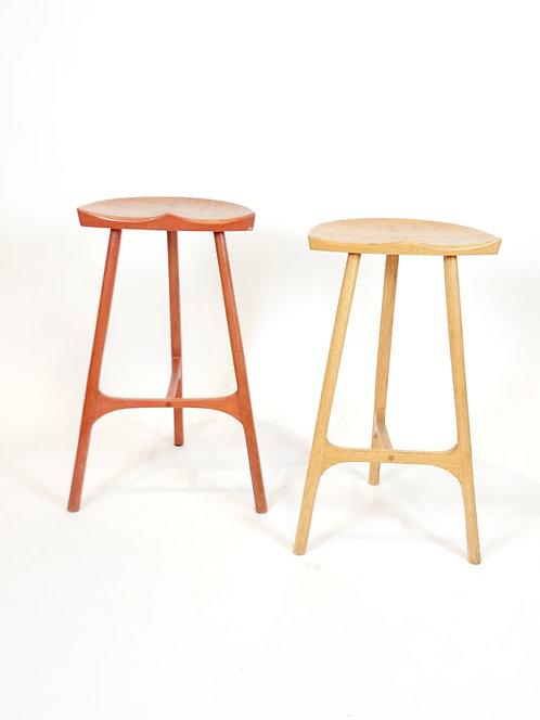Custom Wood Counter Stools, a Pair
