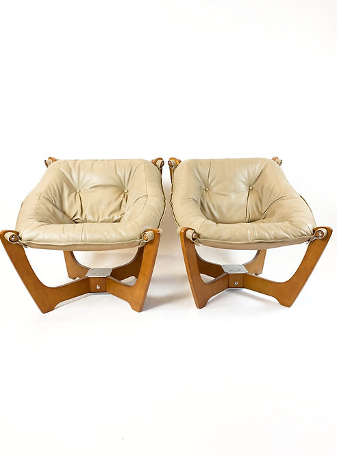 "Danish Modern Leather ""Luna"" Sling Chairs, a Pair"