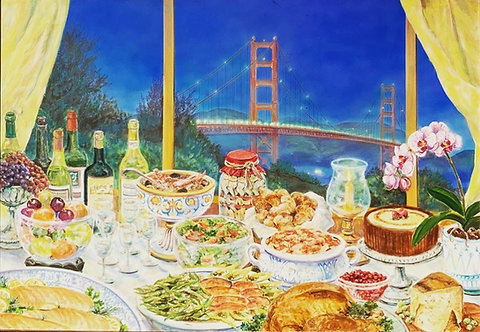 Huge banquet painting by SF Painter Jennifer Ewing