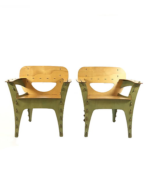 David Kawecki Two-Tone Puzzle Chairs (Pair)