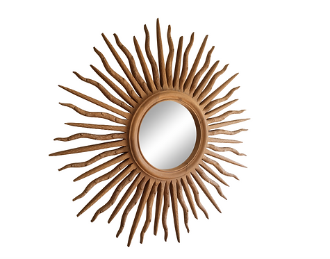 1980s Boho Chic Wooden Sunburst Mirror