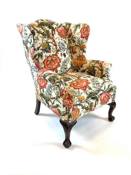 Claw Foot Wing Chair with Floral Print Pierre Frey Style Upholstery