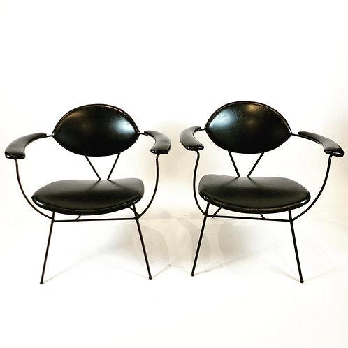 Pair Joseph Cicchelli Wrought Iron Lounge Chairs