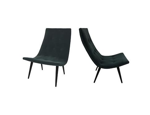 Pair of Thin Line Velvet Scoop Chairs