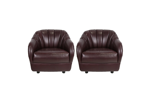 Pair of Oxblood Leather Club Chairs by Ward Bennett for Brickel