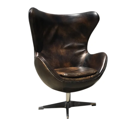 Leather Bomber Egg Chairs (2 Available)