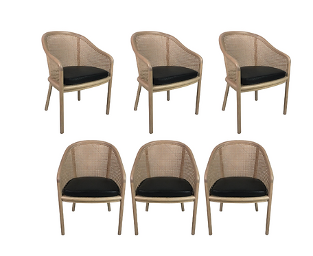 Set of Six Whitewashed Lacquer Armchairs by Ward Bennett for Brickel