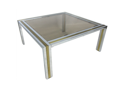 Chrome and Brass Coffee Table attributed to Romeo Rega