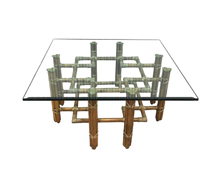 McGuire Chippendale Style Rattan Cocktail Table