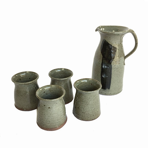 Hand Thrown Ceramic Pitcher and Cups