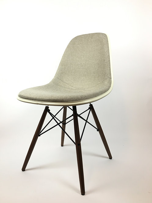 Eames Upholstered Fiberglass Side Chair with 4-Leg Dowel Base by Herman Miller