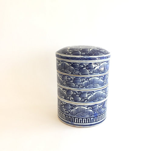 Blue and White Stack of Pots with Lid