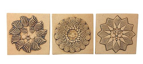 1970s Boho Chic John Wenzel Sun Motif Ceramic Wall Art Tiles