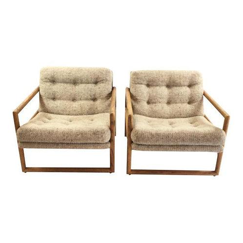 Milo Baughman Oak Cube Chairs for Thayer Coggin -A Pair