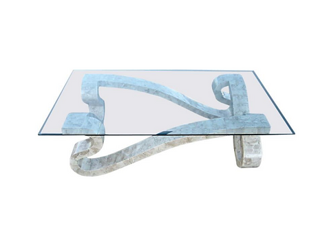 Large Scale Polished Stone Veneer Serpentine Coffee Table