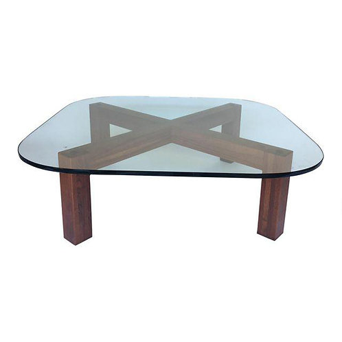 Vintage X Base Walnut Cocktail Table