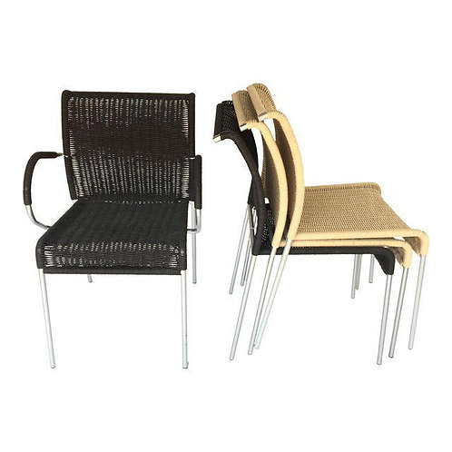 Set of 4 Stackable Papercord Chairs