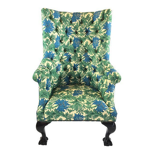 Wingback Style Chair With Ball and Claw Feet