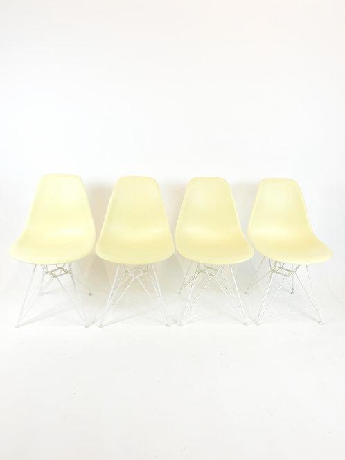 Lemon Yellow Eames Plastic Side Chairs, Herman Miller (4)