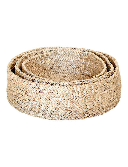 Trio of Round Jute Baskets