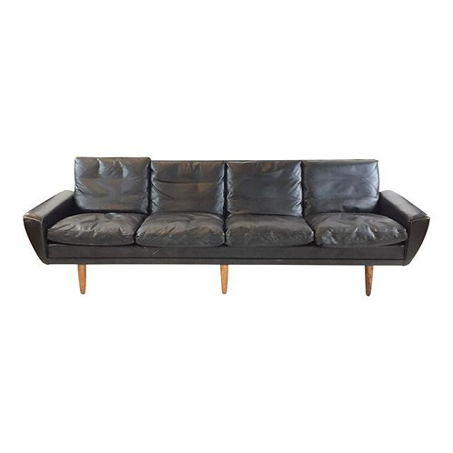 Georg Thams Black Leather and Rosewood Sofa