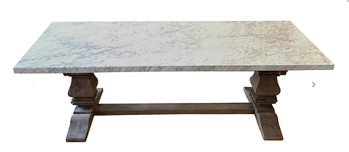 Marble and Salvaged Wood Restoration Hardware Table